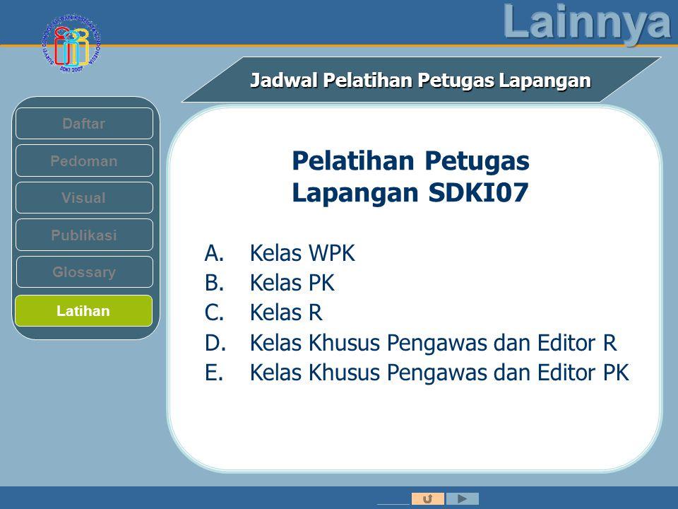 Jadwal Pelatihan Petugas Lapangan Pedoman Visual Daftar Publikasi Latihan Glossary Pelatihan Petugas Lapangan SDKI07 A.Kelas WPK B.Kelas PK C.Kelas R D.Kelas Khusus Pengawas dan Editor R E.Kelas Khusus Pengawas dan Editor PK