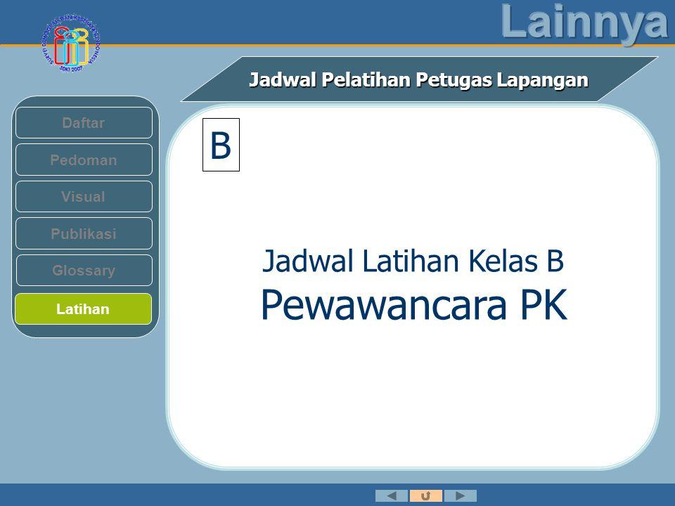Jadwal Pelatihan Petugas Lapangan Pedoman Visual Daftar Publikasi Latihan Glossary B Jadwal Latihan Kelas B Pewawancara PK