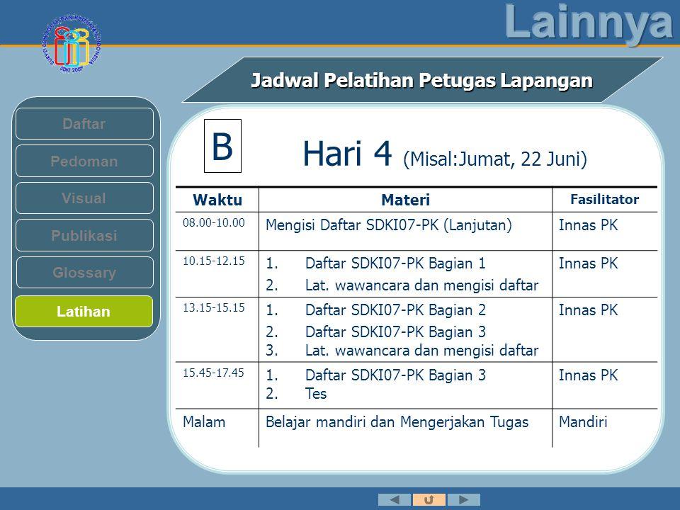 Jadwal Pelatihan Petugas Lapangan Pedoman Visual Daftar Publikasi Latihan Glossary Hari 4 (Misal:Jumat, 22 Juni) WaktuMateri Fasilitator 08.00-10.00 Mengisi Daftar SDKI07-PK (Lanjutan)Innas PK 10.15-12.15 1.Daftar SDKI07-PK Bagian 1 2.Lat.