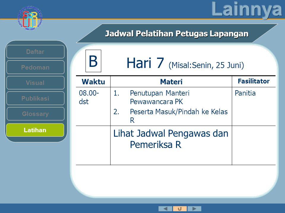 Jadwal Pelatihan Petugas Lapangan Pedoman Visual Daftar Publikasi Latihan Glossary Hari 7 (Misal:Senin, 25 Juni) WaktuMateri Fasilitator 08.00- dst 1.