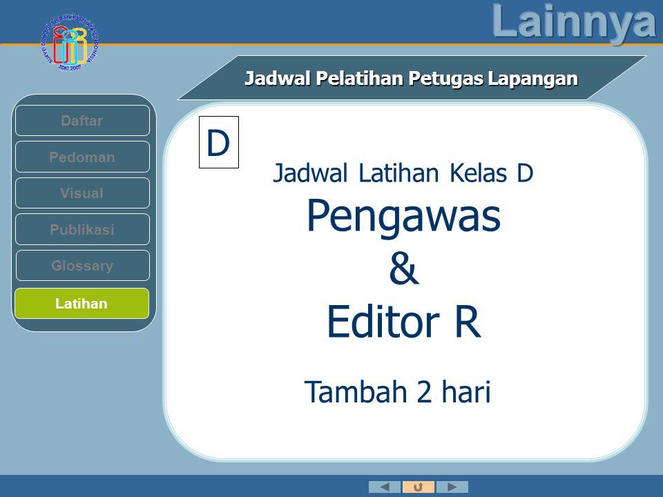 Jadwal Pelatihan Petugas Lapangan Pedoman Visual Daftar Publikasi Latihan Glossary Jadwal Latihan Kelas D Pengawas & Editor R Tambah 2 hari D