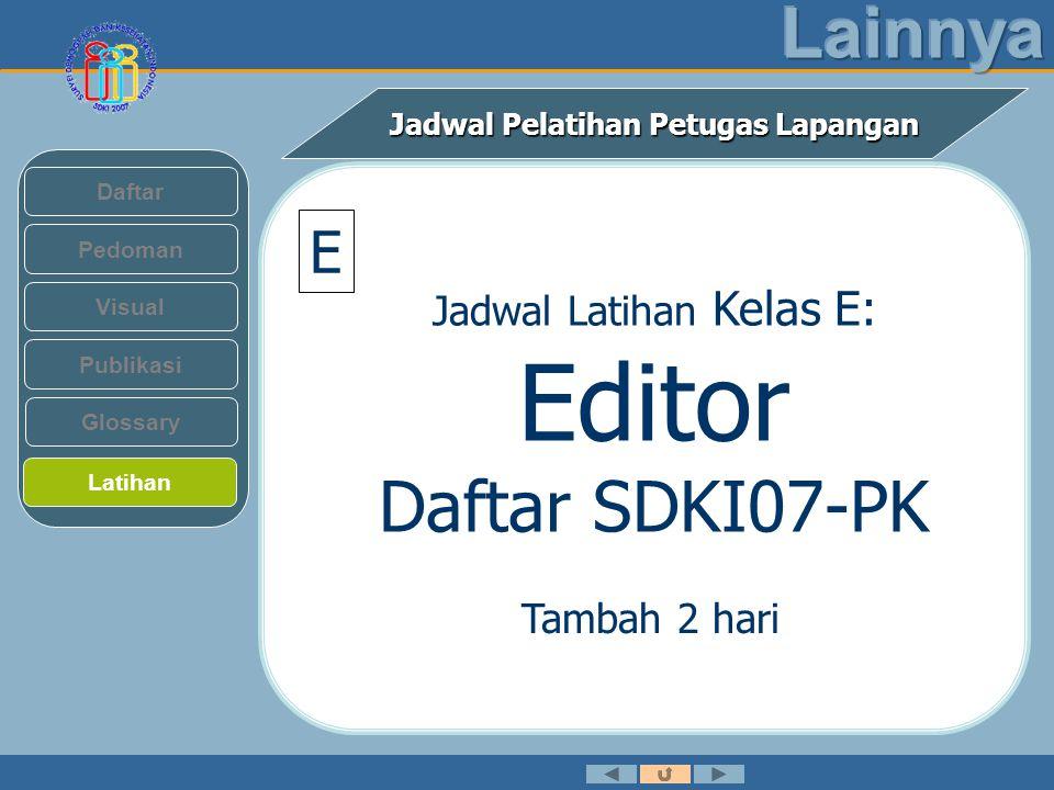 Jadwal Pelatihan Petugas Lapangan Pedoman Visual Daftar Publikasi Latihan Glossary E Jadwal Latihan Kelas E: Editor Daftar SDKI07-PK Tambah 2 hari