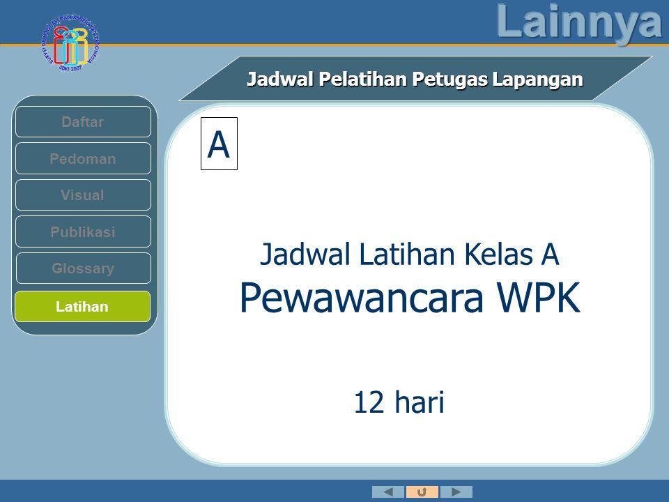Jadwal Pelatihan Petugas Lapangan Pedoman Visual Daftar Publikasi Latihan Glossary Jadwal Latihan Kelas A Pewawancara WPK 12 hari A