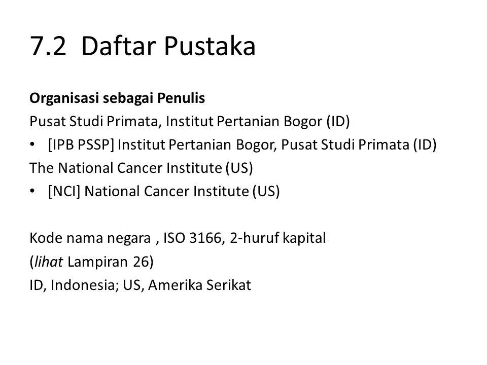 7.2 Daftar Pustaka Organisasi sebagai Penulis Pusat Studi Primata, Institut Pertanian Bogor (ID) [IPB PSSP] Institut Pertanian Bogor, Pusat Studi Prim
