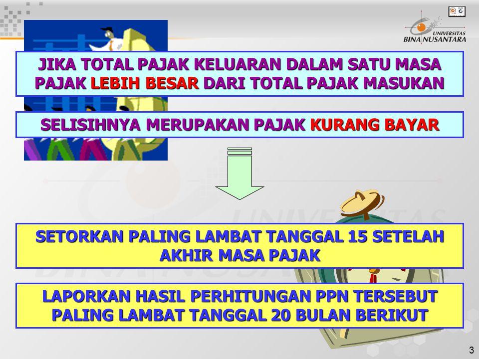 3 JIKA TOTAL PAJAK KELUARAN DALAM SATU MASA PAJAK LEBIH BESAR DARI TOTAL PAJAK MASUKAN SELISIHNYA MERUPAKAN PAJAK KURANG BAYAR SETORKAN PALING LAMBAT TANGGAL 15 SETELAH AKHIR MASA PAJAK LAPORKAN HASIL PERHITUNGAN PPN TERSEBUT PALING LAMBAT TANGGAL 20 BULAN BERIKUT