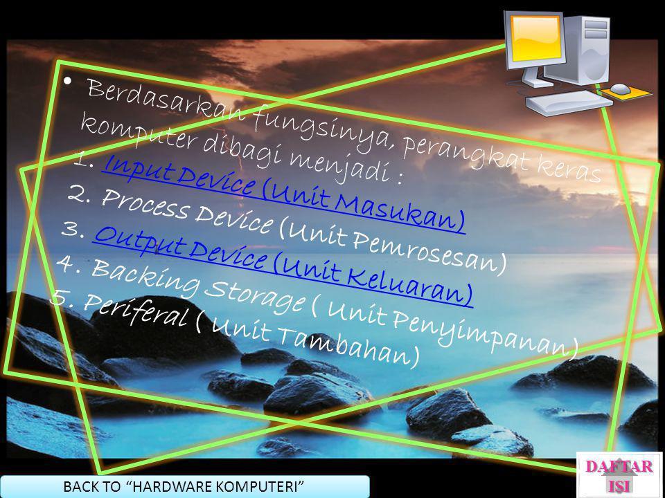Berdasarkan fungsinya, perangkat keras komputer dibagi menjadi : 1. Input Device (Unit Masukan) 2. Process Device (Unit Pemrosesan) 3. Output Device (