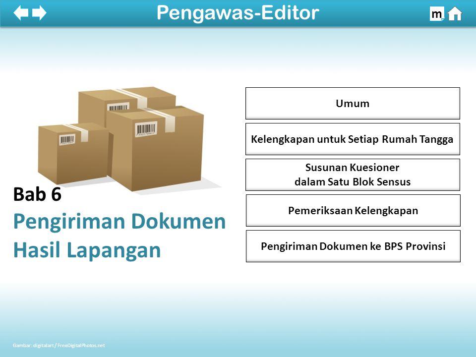 Kelengkapan untuk Setiap Rumah Tangga Umum Pengiriman Dokumen ke BPS Provinsi Susunan Kuesioner dalam Satu Blok Sensus Pemeriksaan Kelengkapan Bab 6 P