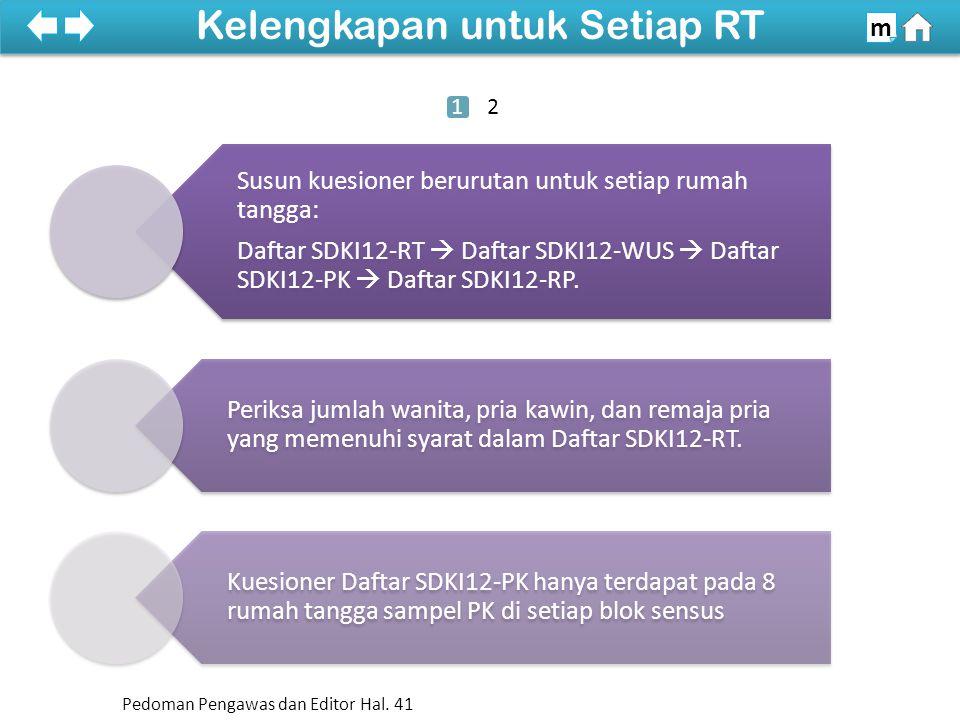 100% Susun kuesioner berurutan untuk setiap rumah tangga: Daftar SDKI12-RT  Daftar SDKI12-WUS  Daftar SDKI12-PK  Daftar SDKI12-RP. Periksa jumlah w