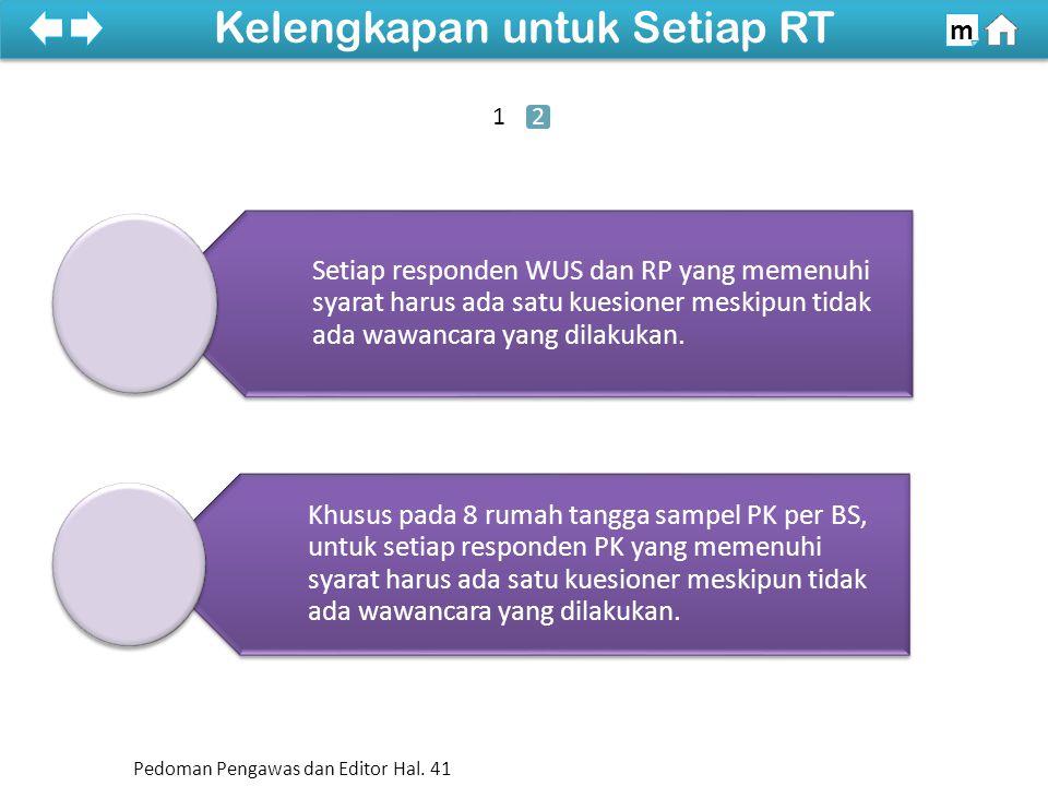 Setiap responden WUS dan RP yang memenuhi syarat harus ada satu kuesioner meskipun tidak ada wawancara yang dilakukan.