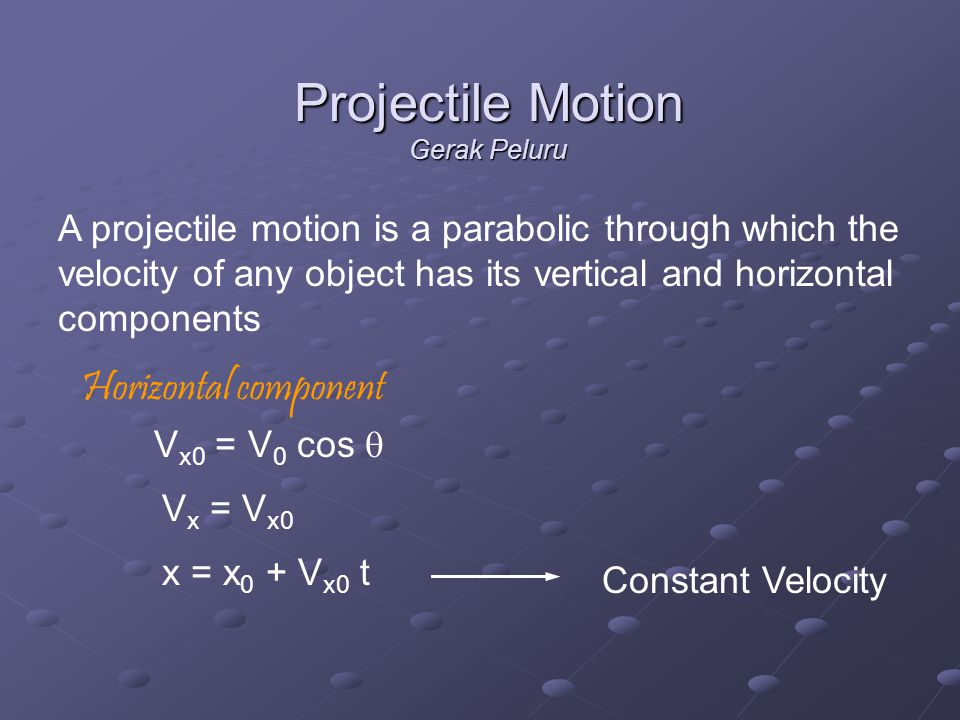 A projectile motion is a parabolic through which the velocity of any object has its vertical and horizontal components Horizontal component V x0 = V 0