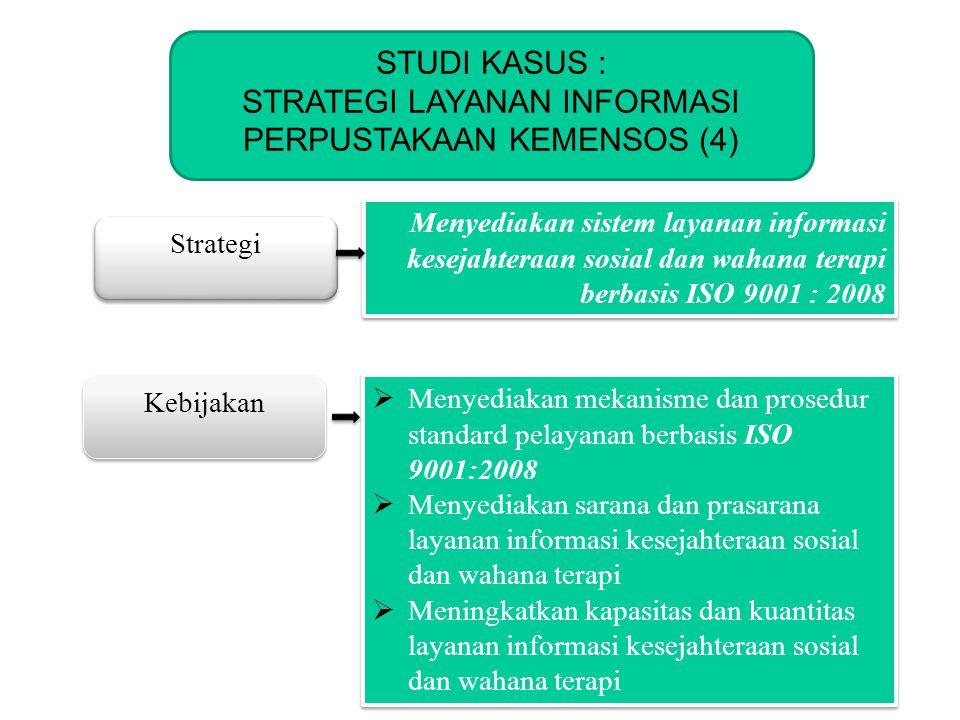 KOMINFO Strategi Kebijakan Menyediakan sistem layanan informasi kesejahteraan sosial dan wahana terapi berbasis ISO 9001 : 2008  Menyediakan mekanism