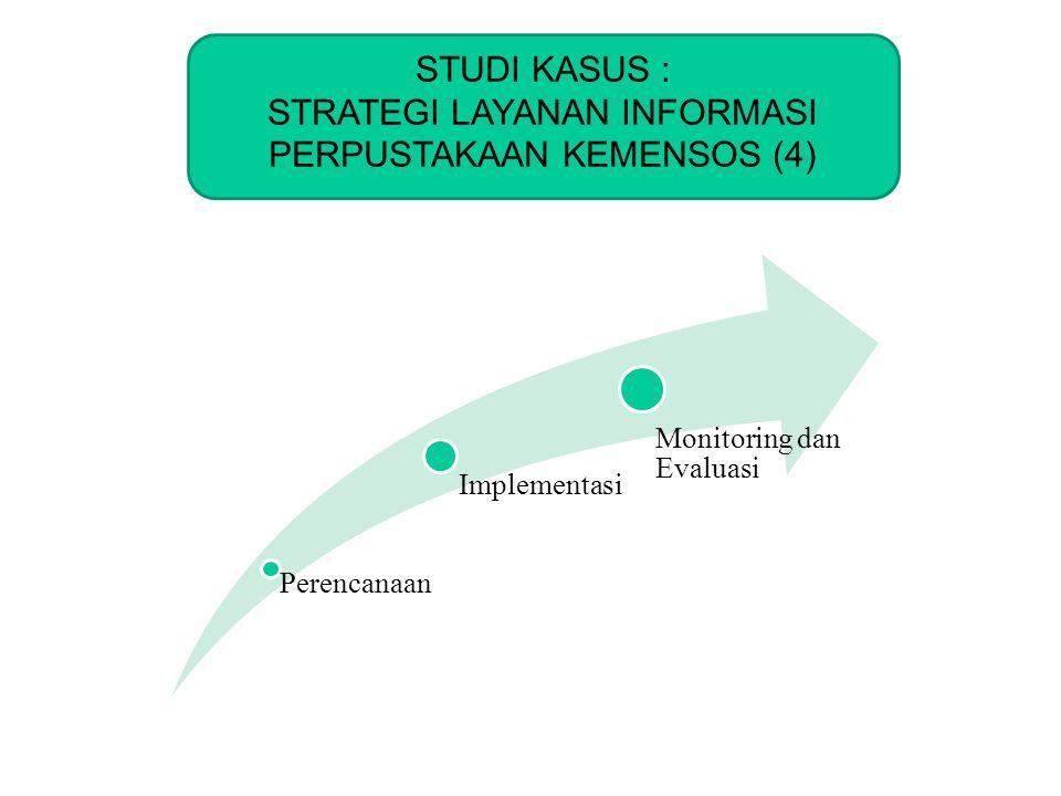 KOMINFO STUDI KASUS : STRATEGI LAYANAN INFORMASI PERPUSTAKAAN KEMENSOS (4) Perencanaan Implementasi Monitoring dan Evaluasi