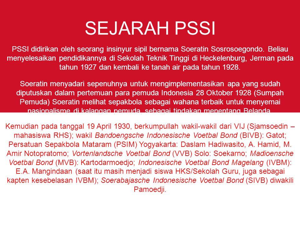 SEJARAH PSSI PSSI didirikan oleh seorang insinyur sipil bernama Soeratin Sosrosoegondo.