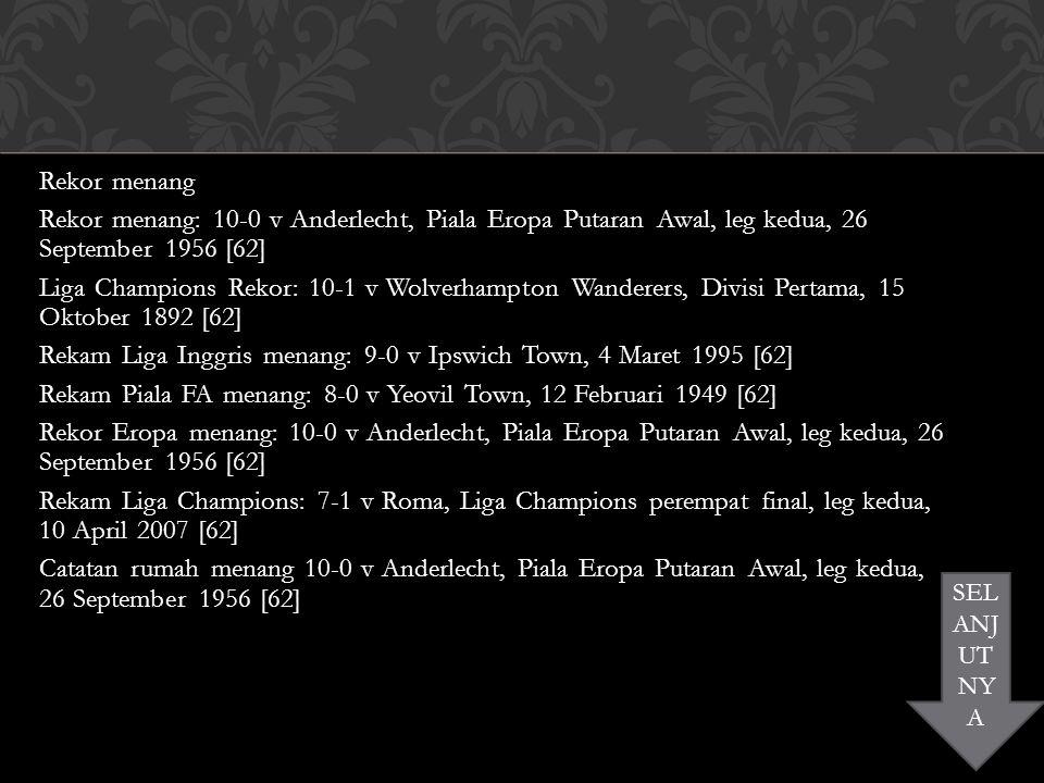 Rekor menang Rekor menang: 10-0 v Anderlecht, Piala Eropa Putaran Awal, leg kedua, 26 September 1956 [62] Liga Champions Rekor: 10-1 v Wolverhampton Wanderers, Divisi Pertama, 15 Oktober 1892 [62] Rekam Liga Inggris menang: 9-0 v Ipswich Town, 4 Maret 1995 [62] Rekam Piala FA menang: 8-0 v Yeovil Town, 12 Februari 1949 [62] Rekor Eropa menang: 10-0 v Anderlecht, Piala Eropa Putaran Awal, leg kedua, 26 September 1956 [62] Rekam Liga Champions: 7-1 v Roma, Liga Champions perempat final, leg kedua, 10 April 2007 [62] Catatan rumah menang 10-0 v Anderlecht, Piala Eropa Putaran Awal, leg kedua, 26 September 1956 [62] SEL ANJ UT NY A