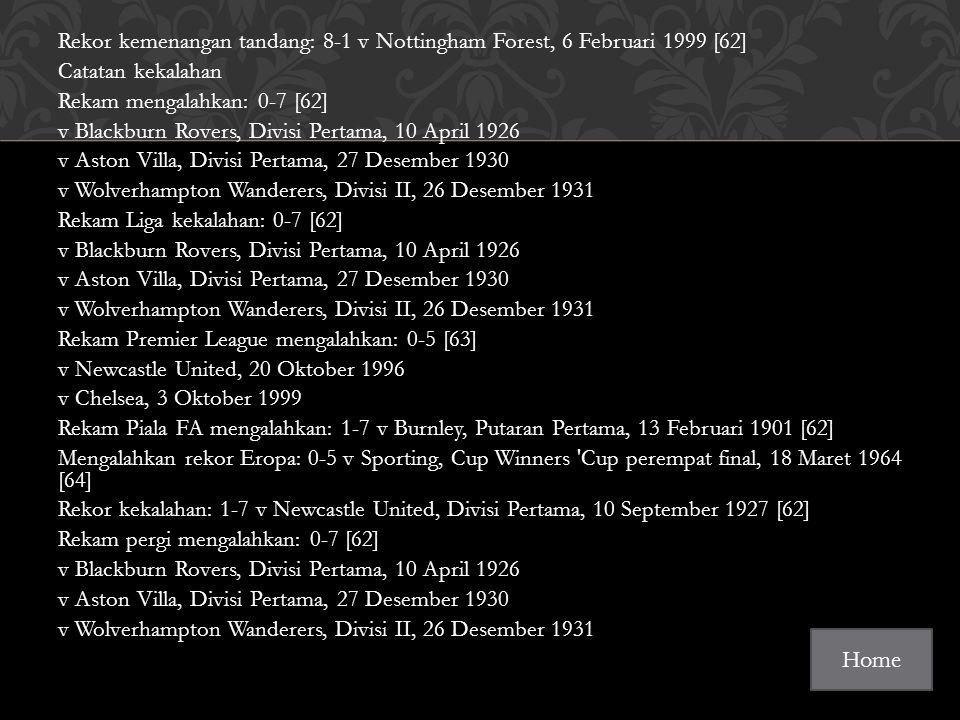 Rekor kemenangan tandang: 8-1 v Nottingham Forest, 6 Februari 1999 [62] Catatan kekalahan Rekam mengalahkan: 0-7 [62] v Blackburn Rovers, Divisi Pertama, 10 April 1926 v Aston Villa, Divisi Pertama, 27 Desember 1930 v Wolverhampton Wanderers, Divisi II, 26 Desember 1931 Rekam Liga kekalahan: 0-7 [62] v Blackburn Rovers, Divisi Pertama, 10 April 1926 v Aston Villa, Divisi Pertama, 27 Desember 1930 v Wolverhampton Wanderers, Divisi II, 26 Desember 1931 Rekam Premier League mengalahkan: 0-5 [63] v Newcastle United, 20 Oktober 1996 v Chelsea, 3 Oktober 1999 Rekam Piala FA mengalahkan: 1-7 v Burnley, Putaran Pertama, 13 Februari 1901 [62] Mengalahkan rekor Eropa: 0-5 v Sporting, Cup Winners Cup perempat final, 18 Maret 1964 [64] Rekor kekalahan: 1-7 v Newcastle United, Divisi Pertama, 10 September 1927 [62] Rekam pergi mengalahkan: 0-7 [62] v Blackburn Rovers, Divisi Pertama, 10 April 1926 v Aston Villa, Divisi Pertama, 27 Desember 1930 v Wolverhampton Wanderers, Divisi II, 26 Desember 1931 Home