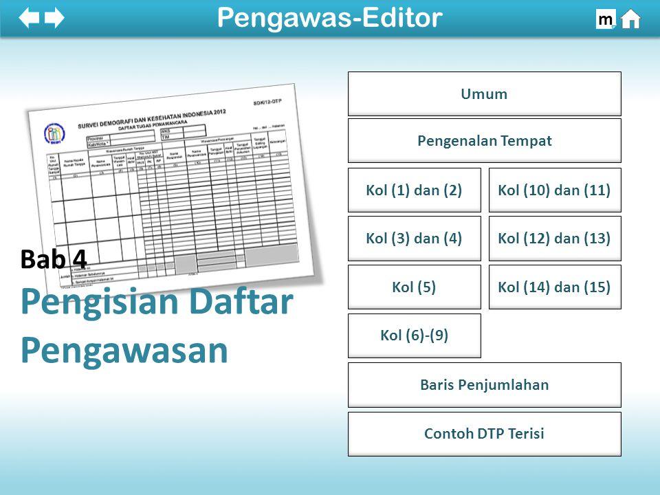 Umum Pengenalan Tempat Kol (1) dan (2) Kol (3) dan (4) Kol (5) Kol (6)-(9) Kol (10) dan (11) Kol (12) dan (13) Kol (14) dan (15) Baris Penjumlahan 100% Pengawas-Editor m Bab 4 Pengisian Daftar Pengawasan Contoh DTP Terisi