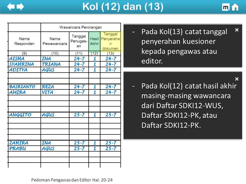 -Pada Kol(12) catat hasil akhir masing-masing wawancara dari Daftar SDKI12-WUS, Daftar SDKI12-PK, atau Daftar SDKI12-PK.