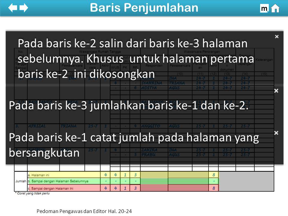 Pada baris ke-1 catat jumlah pada halaman yang bersangkutan Pada baris ke-2 salin dari baris ke-3 halaman sebelumnya.
