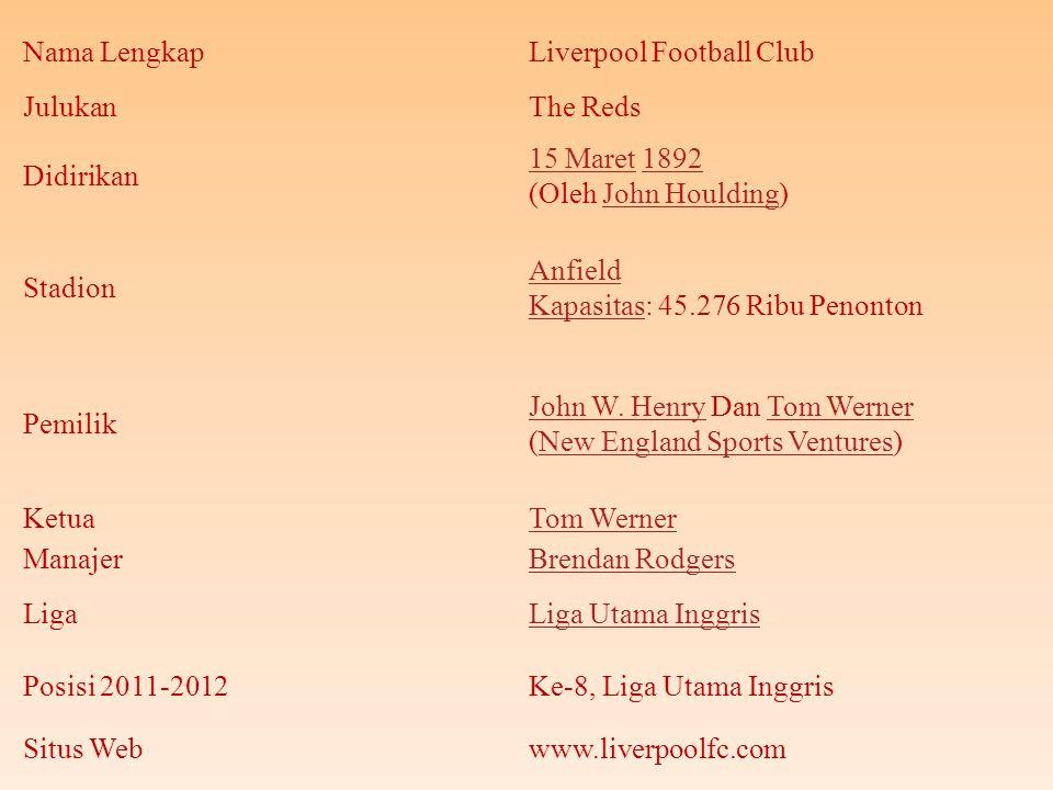 Nama LengkapLiverpool Football Club JulukanThe Reds Didirikan 15 Maret15 Maret 1892 (Oleh John Houlding)1892John Houlding Stadion Anfield KapasitasAnfield Kapasitas: 45.276 Ribu Penonton Pemilik John W.