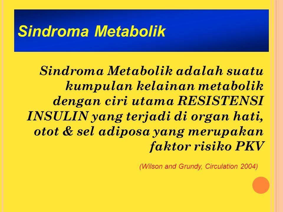Sindroma Metabolik Sindroma Metabolik adalah suatu kumpulan kelainan metabolik dengan ciri utama RESISTENSI INSULIN yang terjadi di organ hati, otot & sel adiposa yang merupakan faktor risiko PKV (Wilson and Grundy, Circulation 2004)