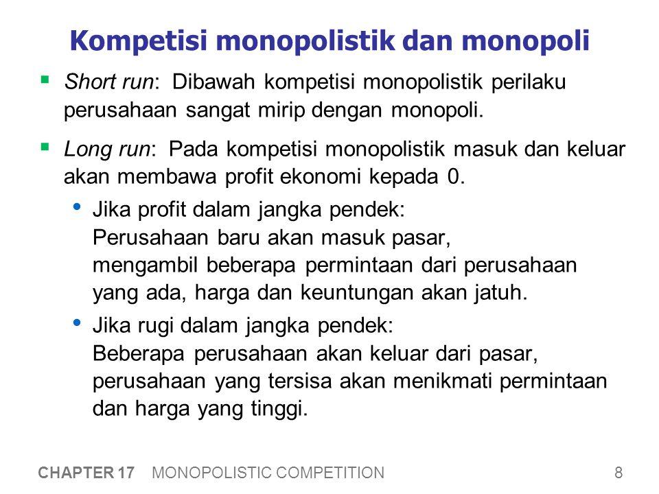 8 CHAPTER 17 MONOPOLISTIC COMPETITION Kompetisi monopolistik dan monopoli  Short run: Dibawah kompetisi monopolistik perilaku perusahaan sangat mirip dengan monopoli.
