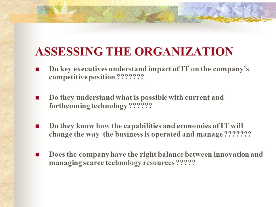ASSESSING THE ORGANIZATION Do key executives understand impact of IT on the company's competitive position ??????.