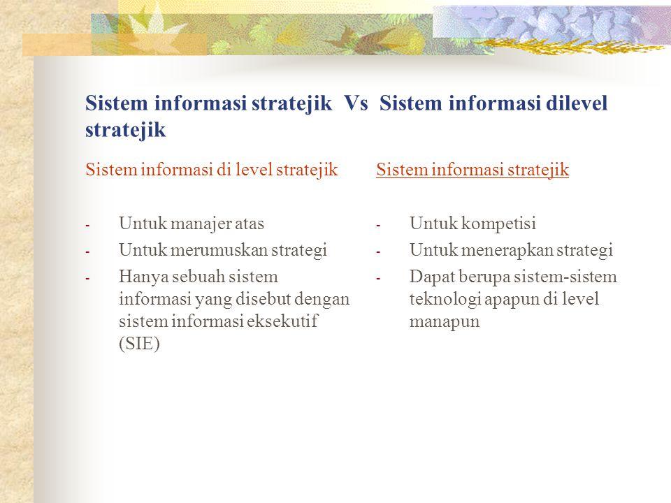 Sistem informasi stratejik Vs Sistem informasi dilevel stratejik Sistem informasi di level stratejik - Untuk manajer atas - Untuk merumuskan strategi