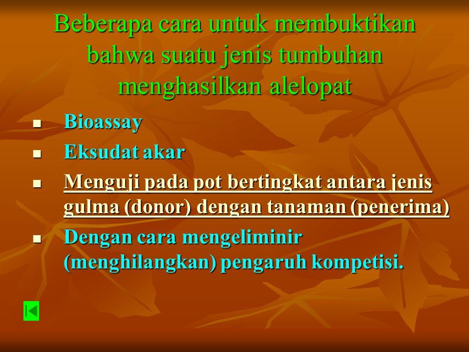 COLLECTION RESERVOIR FLOAT SWITCH SUPPLY RESERVOIR PUMP CULTURE POTS NUTRIEN SOLUTION FLOW GRAVITATIONAL FLOW UV AND FLUORESCENT ILLUMINATION Gambar Metode pada pot bertingkat antara jenis gulma (donor) dengan tanaman (penerima)