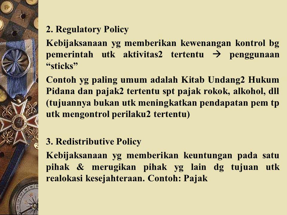 """2. Regulatory Policy Kebijaksanaan yg memberikan kewenangan kontrol bg pemerintah utk aktivitas2 tertentu  penggunaan """"sticks"""" Contoh yg paling umum"""