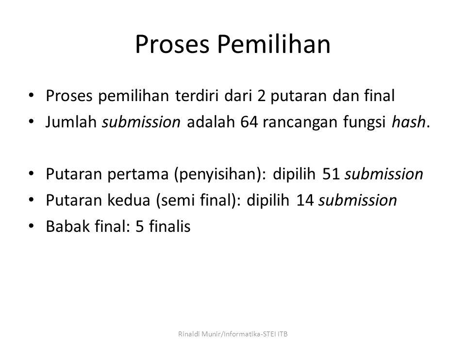 Proses Pemilihan Proses pemilihan terdiri dari 2 putaran dan final Jumlah submission adalah 64 rancangan fungsi hash. Putaran pertama (penyisihan): di