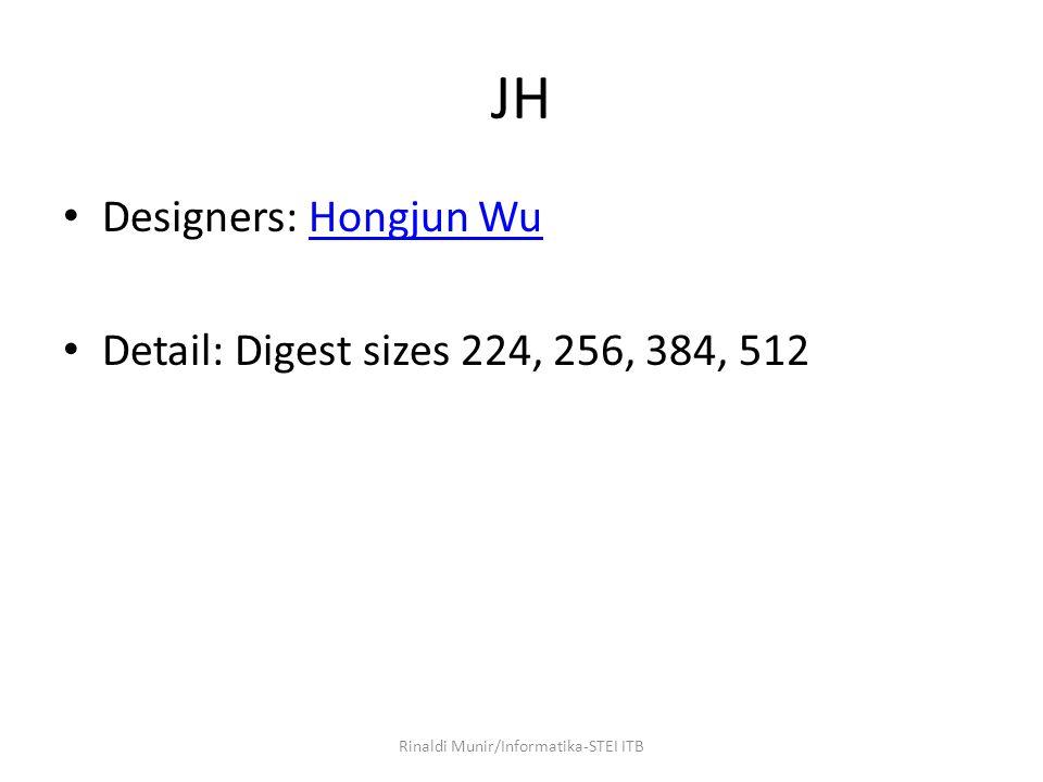 JH Designers: Hongjun WuHongjun Wu Detail: Digest sizes 224, 256, 384, 512 Rinaldi Munir/Informatika-STEI ITB