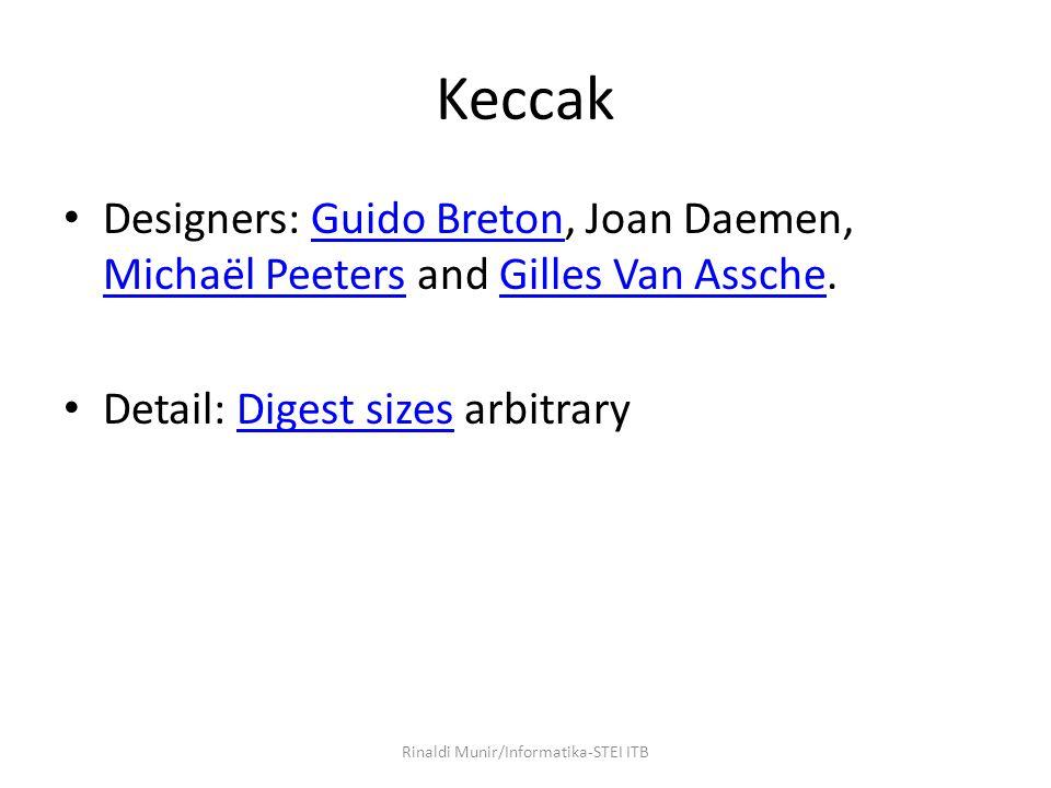 Keccak Designers: Guido Breton, Joan Daemen, Michaël Peeters and Gilles Van Assche.Guido Breton Michaël PeetersGilles Van Assche Detail: Digest sizes arbitraryDigest sizes Rinaldi Munir/Informatika-STEI ITB