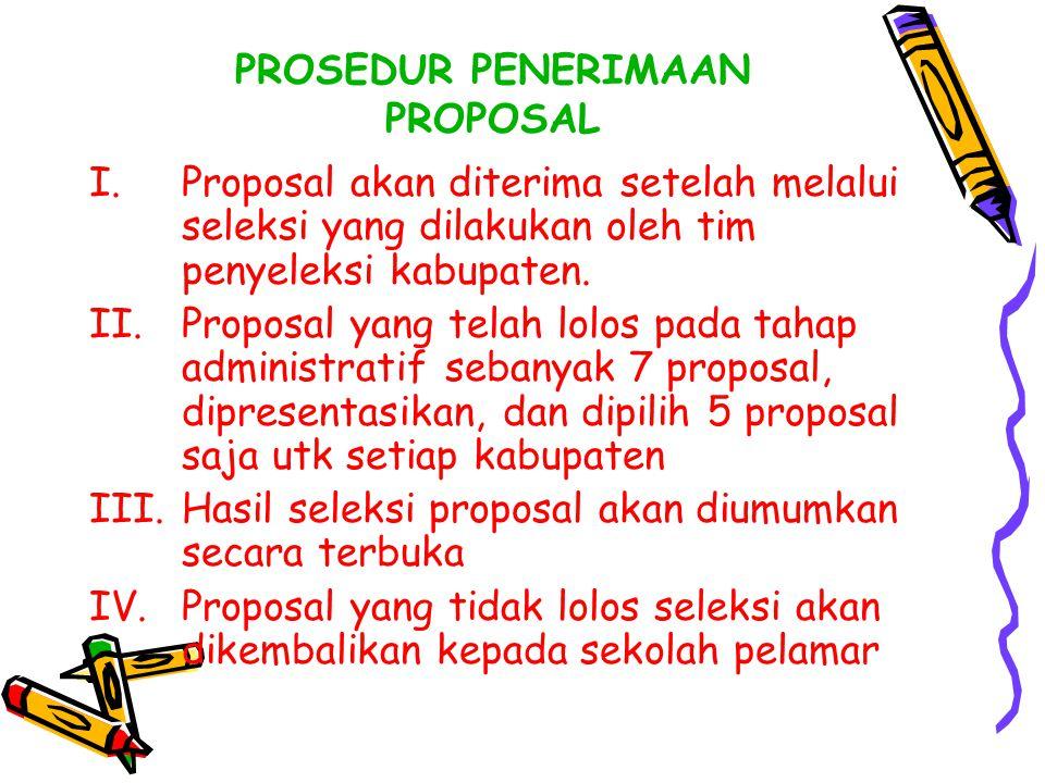 PROSEDUR PENERIMAAN PROPOSAL I.Proposal akan diterima setelah melalui seleksi yang dilakukan oleh tim penyeleksi kabupaten. II.Proposal yang telah lol