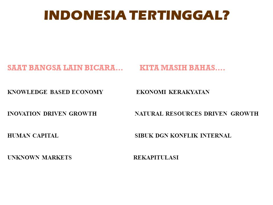 INDONESIA TERTINGGAL? SAAT BANGSA LAIN BICARA… KITA MASIH BAHAS…. KNOWLEDGE BASED ECONOMY EKONOMI KERAKYATAN INOVATION DRIVEN GROWTH NATURAL RESOURCES