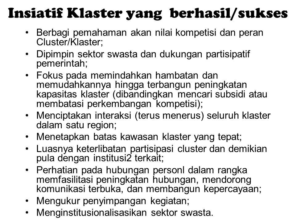 Insiatif Klaster yang berhasil/sukses Berbagi pemahaman akan nilai kompetisi dan peran Cluster/Klaster; Dipimpin sektor swasta dan dukungan partisipat