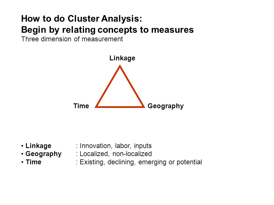How to do Cluster Analysis: Begin by relating concepts to measures Three dimension of measurement Linkage: Innovation, labor, inputs Geography: Locali