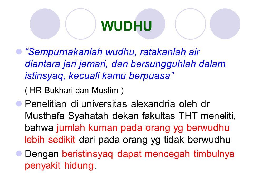 "WUDHU ""Sempurnakanlah wudhu, ratakanlah air diantara jari jemari, dan bersungguhlah dalam istinsyaq, kecuali kamu berpuasa"" ( HR Bukhari dan Muslim )"