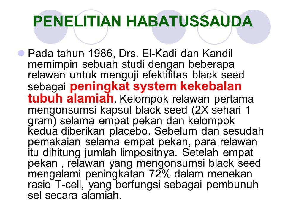 Pada tahun 1986, Drs. El-Kadi dan Kandil memimpin sebuah studi dengan beberapa relawan untuk menguji efektifitas black seed sebagai peningkat system k