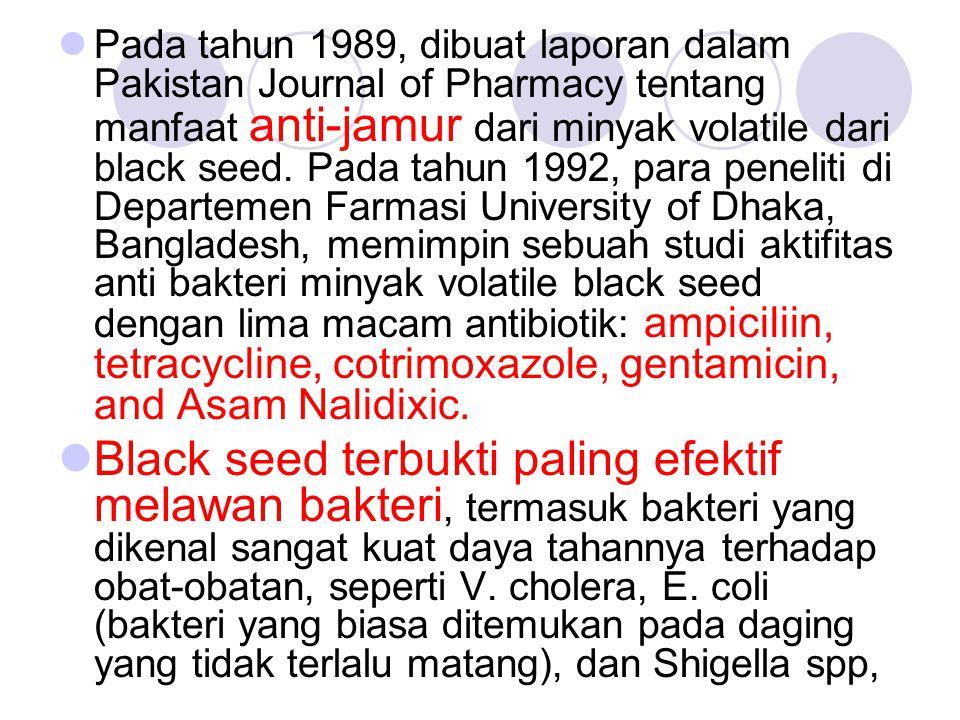 Pada tahun 1989, dibuat laporan dalam Pakistan Journal of Pharmacy tentang manfaat anti-jamur dari minyak volatile dari black seed. Pada tahun 1992, p