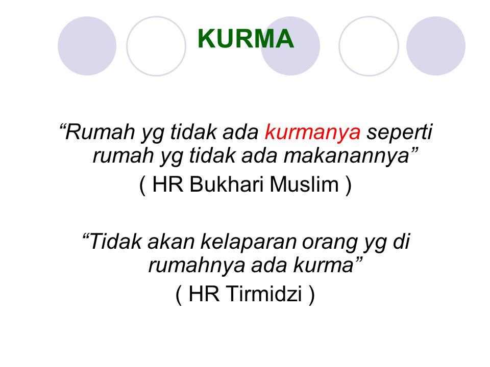 """Rumah yg tidak ada kurmanya seperti rumah yg tidak ada makanannya"" ( HR Bukhari Muslim ) ""Tidak akan kelaparan orang yg di rumahnya ada kurma"" ( HR T"