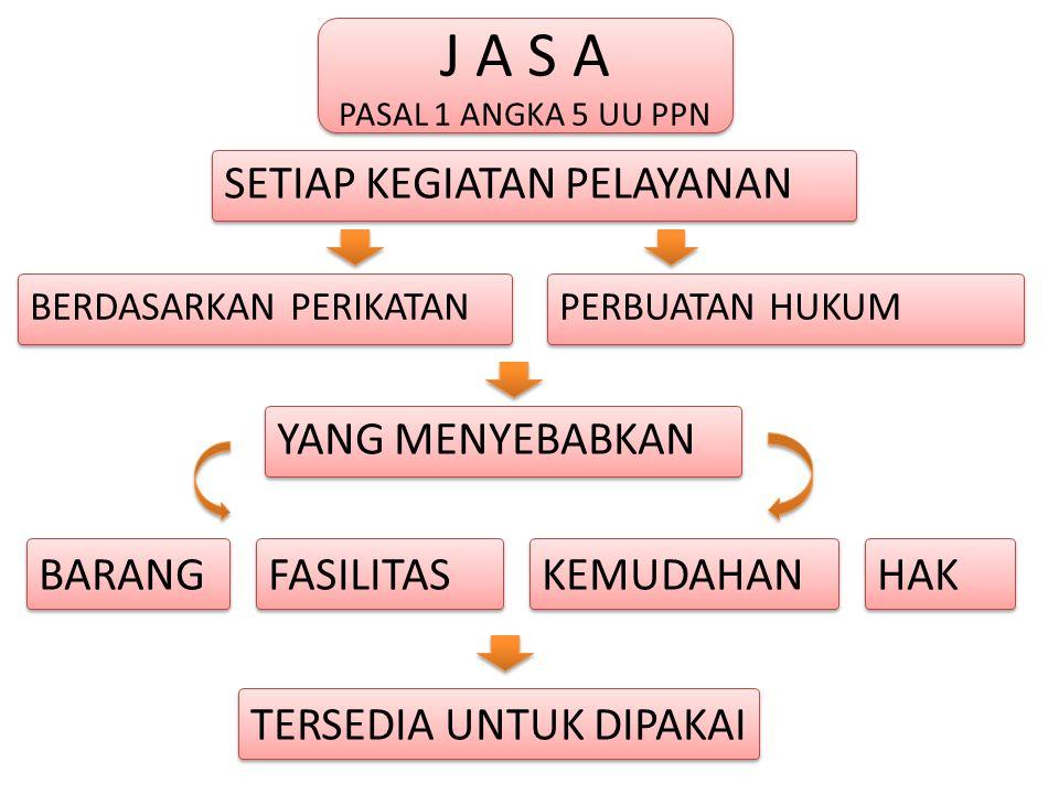 J A S A PASAL 1 ANGKA 5 UU PPN J A S A PASAL 1 ANGKA 5 UU PPN BERDASARKAN PERIKATAN PERBUATAN HUKUM YANG MENYEBABKAN BARANG SETIAP KEGIATAN PELAYANAN FASILITAS KEMUDAHAN HAK TERSEDIA UNTUK DIPAKAI
