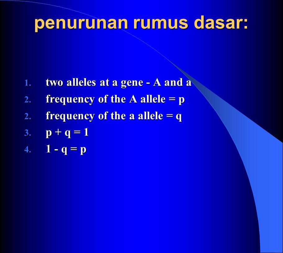 penurunan rumus dasar: 1.two alleles at a gene - A and a 2.