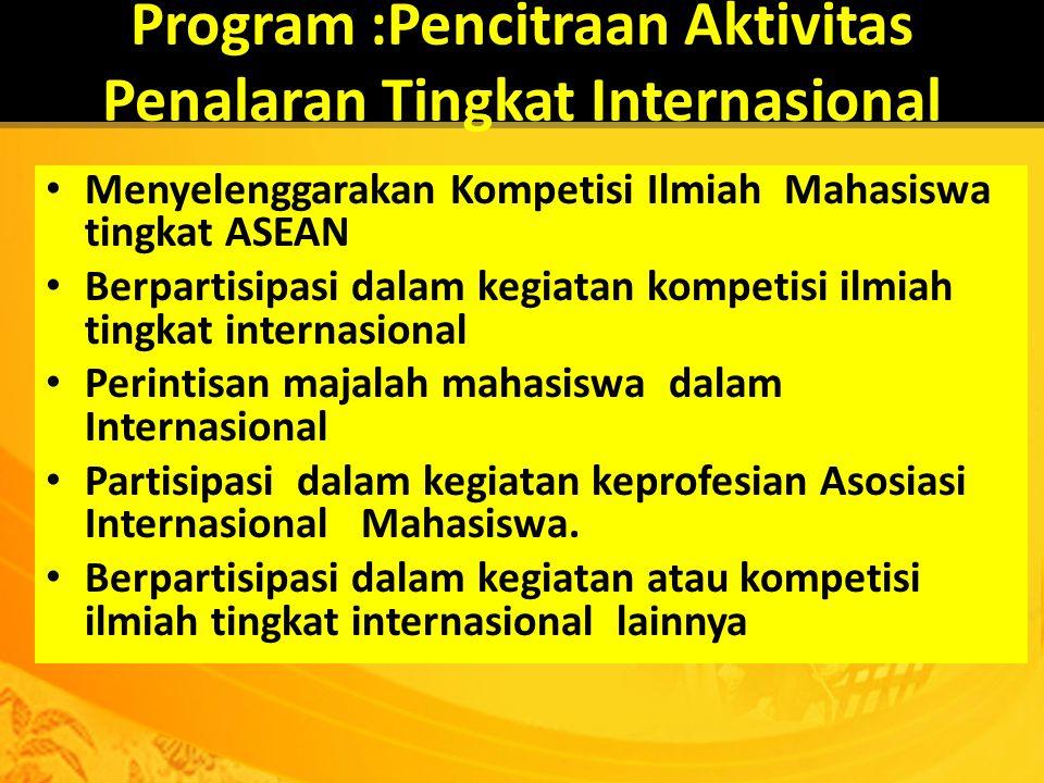 Program :Pencitraan Aktivitas Penalaran Tingkat Internasional Menyelenggarakan Kompetisi Ilmiah Mahasiswa tingkat ASEAN Berpartisipasi dalam kegiatan