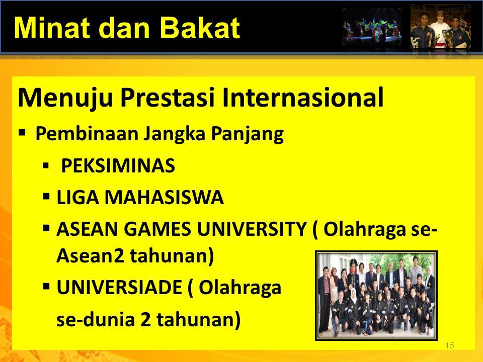 Menuju Prestasi Internasional  Pembinaan Jangka Panjang  PEKSIMINAS  LIGA MAHASISWA  ASEAN GAMES UNIVERSITY ( Olahraga se- Asean2 tahunan)  UNIVE
