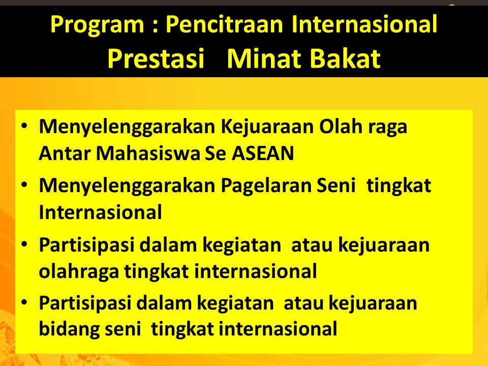 Program : Pencitraan Internasional Prestasi Minat Bakat Menyelenggarakan Kejuaraan Olah raga Antar Mahasiswa Se ASEAN Menyelenggarakan Pagelaran Seni