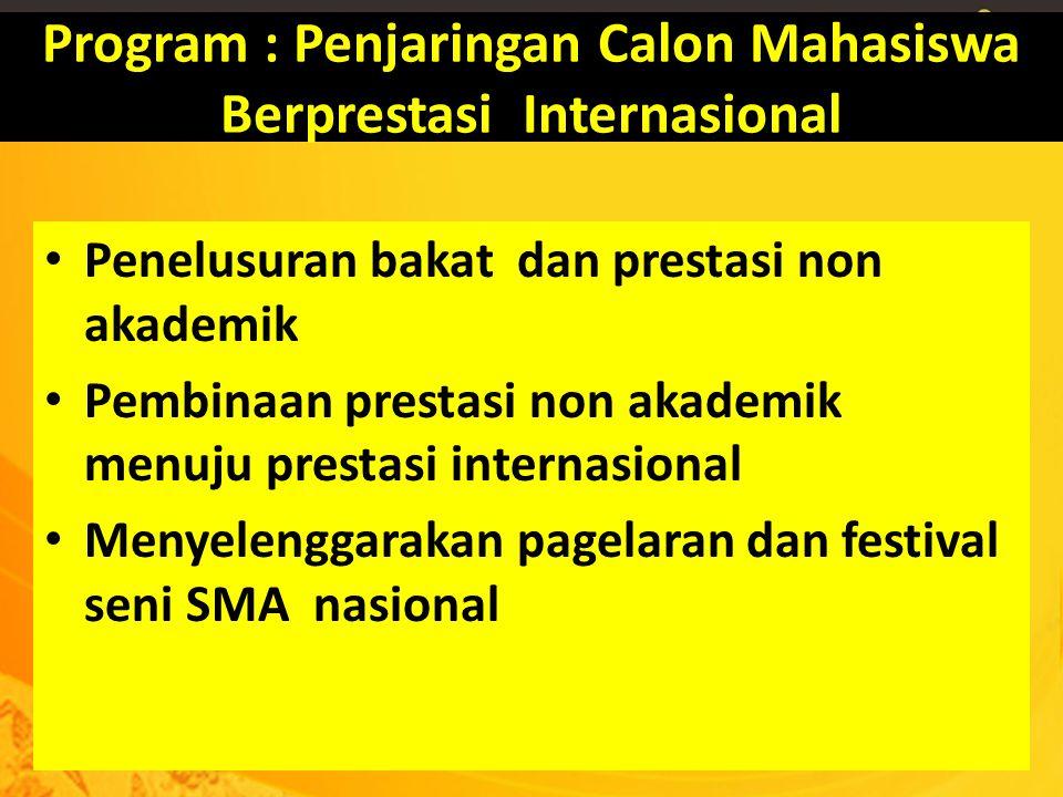 Program : Penjaringan Calon Mahasiswa Berprestasi Internasional Penelusuran bakat dan prestasi non akademik Pembinaan prestasi non akademik menuju pre