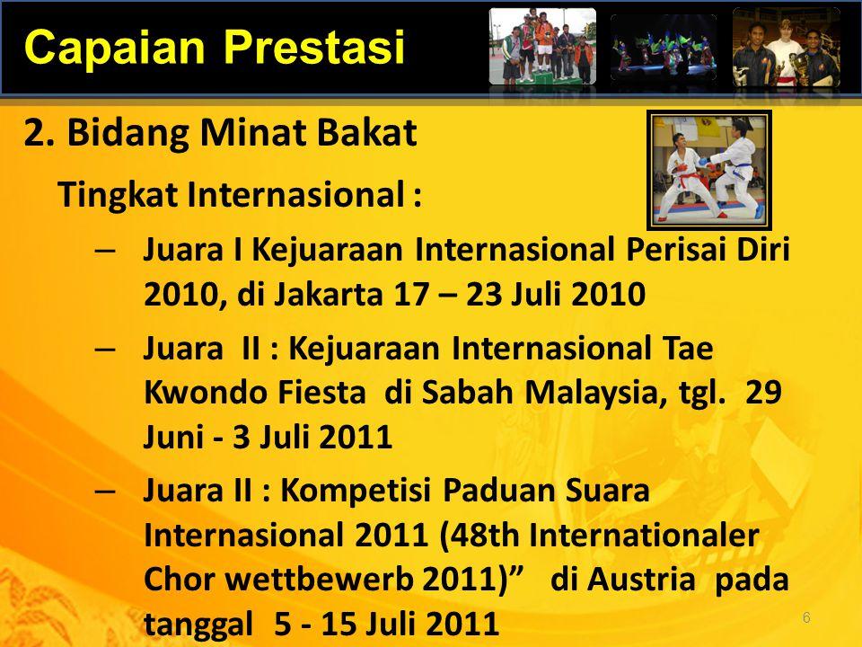 Tingkat Internasional : – Juara I Kejuaraan Internasional Perisai Diri 2010, di Jakarta 17 – 23 Juli 2010 – Juara II : Kejuaraan Internasional Tae Kwo