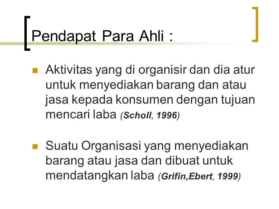 Pendapat Para Ahli : Aktivitas yang di organisir dan dia atur untuk menyediakan barang dan atau jasa kepada konsumen dengan tujuan mencari laba (Schol