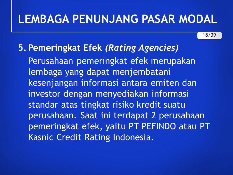 5.Pemeringkat Efek (Rating Agencies) Perusahaan pemeringkat efek merupakan lembaga yang dapat menjembatani kesenjangan informasi antara emiten dan inv
