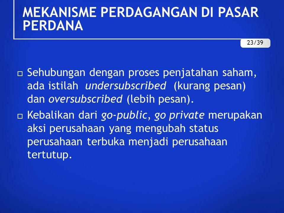  Sehubungan dengan proses penjatahan saham, ada istilah undersubscribed (kurang pesan) dan oversubscribed (lebih pesan).  Kebalikan dari go-public,